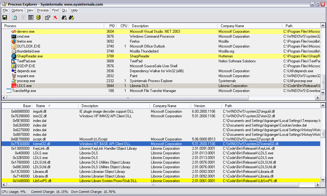 Process Explorer window showing address of Kernel32.dll